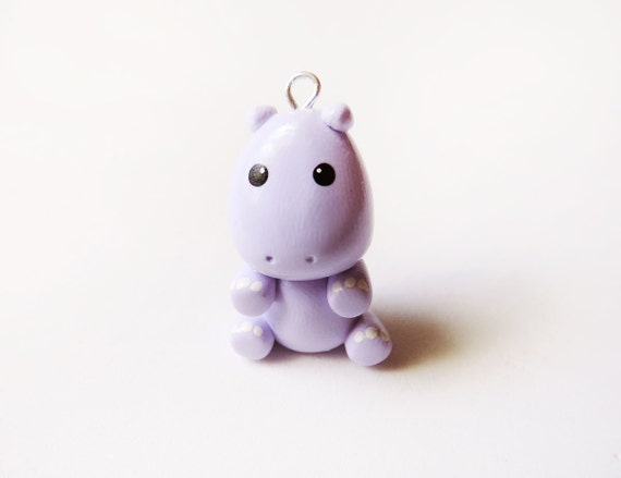 Cute Pastel Purple Hippo Charm Polymer Clay Animal by ...
