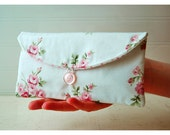 Bridesmaids Clutch purse pink rose Bridal Wedding Shabby bag Gift Giving Make Up Travel Gadget ,Gift Under 25