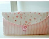 pink ivory Bridesmaids Clutch purse rose Laura Ashley Stripe Bridal Wedding Shabby bag Gift Giving Make Up Travel Gadget ,Gift Under 25