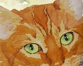 Orange Tabby Cat Print from Original Watercolor, Ginger Cat Print, Cat Wall Art, Tabby Cat Home Decor, Orange Tabby Cat Design, Pet Portrait