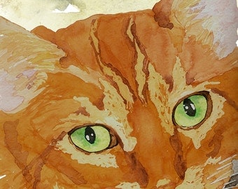 Orange Tabby Cat Print from Original Watercolor, Ginger Cat Print, Cat Wall Art, Tabby Cat Home Decor, Orange Tabby Cat Design, Pet Portrait