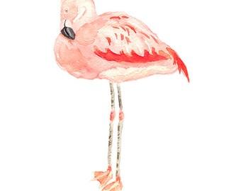Flamingo Print from Original Watercolor, Flamingo Wall Art Print, Pink Flamingo Home Decor Watercolor Print, Coastal Decor Wall Art Print