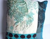 Spotted Nautilus Accent Pillow in Blues and Greys
