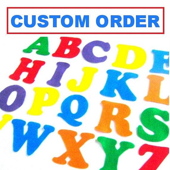 RESERVED CUSTOM ORDER Magenta Felt Alphabet Letters And
