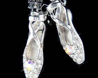 Swarovski Crystal Ballerina Shoes Slippers Ballet Dance Charm Pendant Earrings Christmas Gift New for The Nutcracker Swan Lake Lover