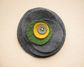 Charcoal Grey Stacked Flower - felt brooch