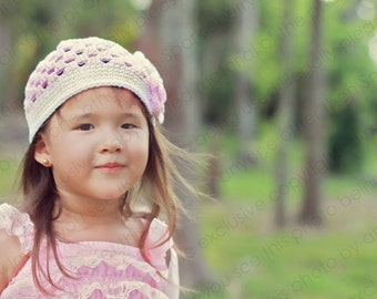 """Crocheted Beanie Hat """"The Cheyanne"""" Pastel Pink White Flowers Trim Dainty Baby Toddler"""
