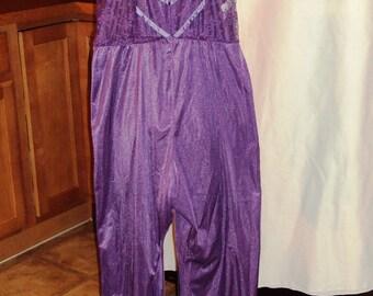 Vintage 1970's Undercover Wear Jumper Romper Lounge Wear Purple Lace Lingerie Size Medium