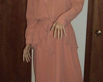 CoCo Petites of California  Vintage Chiffon  Ruffle Crepe Jacket  2 Piece Dress