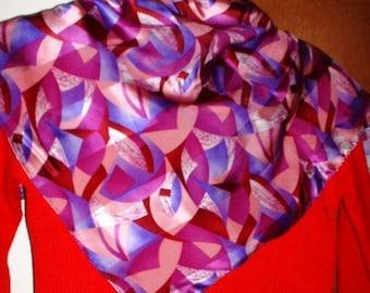 Merlot Scarf Cocktail Collection Ladies Silk  Vintage Purple Abstract Design