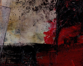 "Black Red Abstract Mixed Media painting, Textured Art, Original, Contemporary, Modern, ""Encounters 9""  by Kathy Morton Stanion EBSQ"