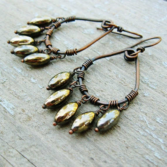 Bear Paws - antiqued copper and silver wrapped hoop dangle earrings
