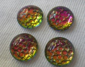 Thousand Eyes or Snakeskin Helio Red Mirror Foiled 15mm Round Cabochons 4 Pcs