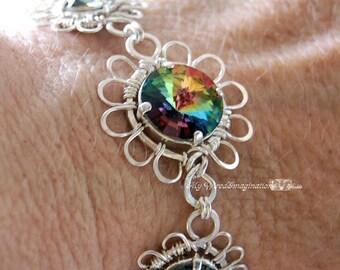Fanciful Flowers - Swarovski Vitrail Medium Crystal Rivoli Link Bracelet in Fine Silver, Sterling Silver and SP