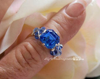 Sapphire Blue Swarovski Crystal Hand Crafted Wire Wrapped Ring Original Signature Design Fine Jewelry September Birthstone