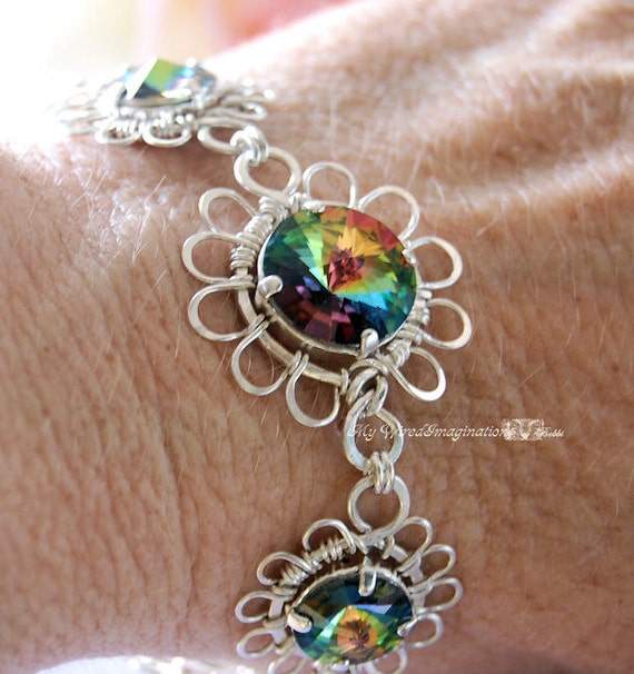 Fanciful Flowers - Swarovski Vitrail Medium Crystal Rivoli Link Bracelet in Fine Silver, Sterling Silver and SP