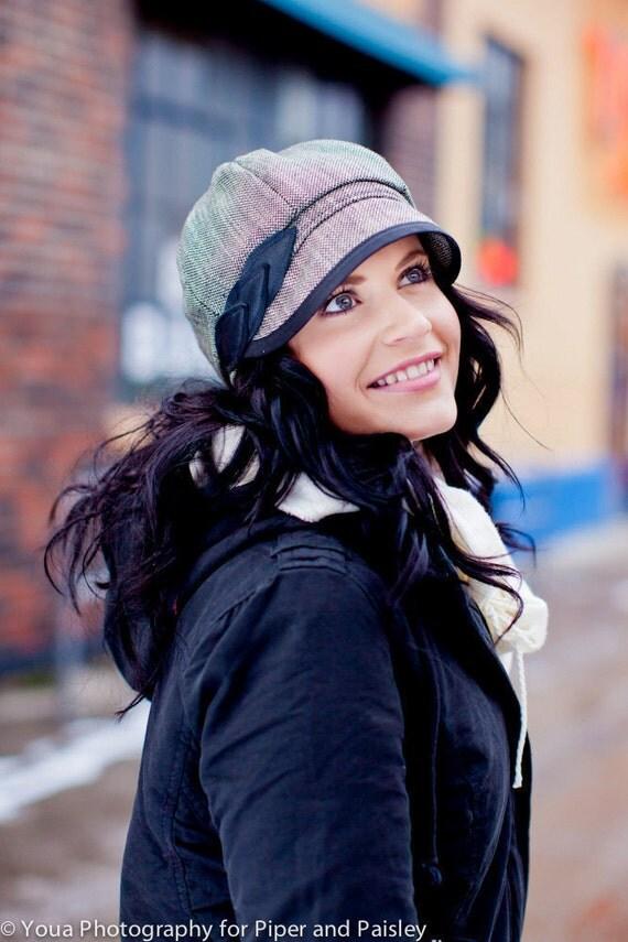 Womens Hat - Wool Hat, womens newsboy cap in black wool tweed
