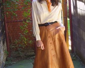 Take 15% off // RARE Vintage Club Cuir French label high waisted brown leather 1970s skirt