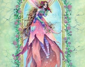 Fairy Art Print - Christmas Fairy with Cardinals in Rose Archway