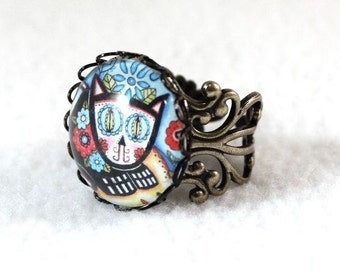 Cat Ring, Day of the Dead Cat Ring, Antique Bronze Antique Silver Mexican Style Art Ring, Victorian Filigree Cocktail Ring Jewelry, Blue