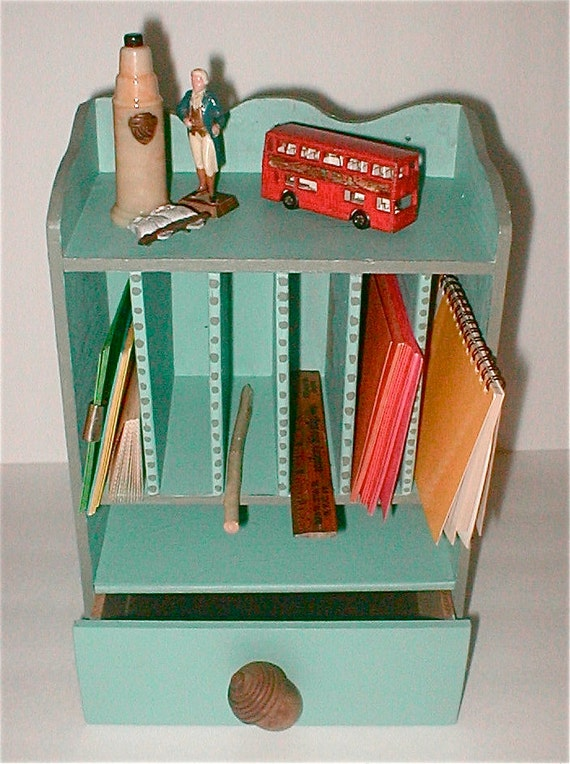 Desk on the Wall Letter Rack and Shelf - Upcycled Old Wooden Shelf