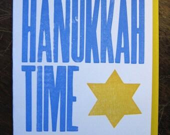 hanukkah time letterpress