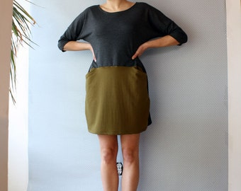 ready to ship // two-toned dress / by replicca / grey and green / size extra large