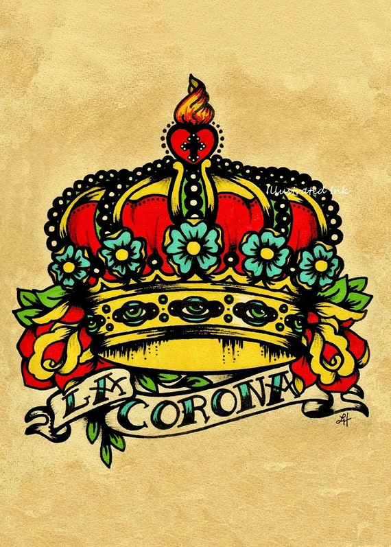 Old School Tattoo Crown Art LA CORONA Loteria Print 5 x 7, 8 x 10 or 11 x 14