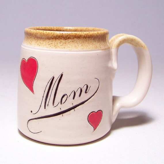 Mom Pottery Coffee Mug  with Red Hearts (microwave safe) 12 oz M2