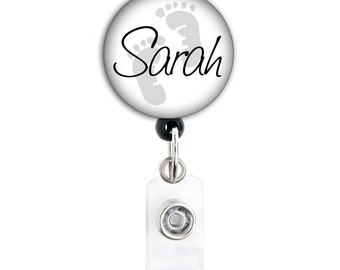 Retractable ID Badge Holder - Personalized Name Grey and White Baby Feet - Badge Reel