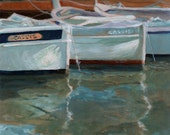 Boats at Low Tide - Original Landscape painting on canvas from France Fishing Boats and Water Reflections