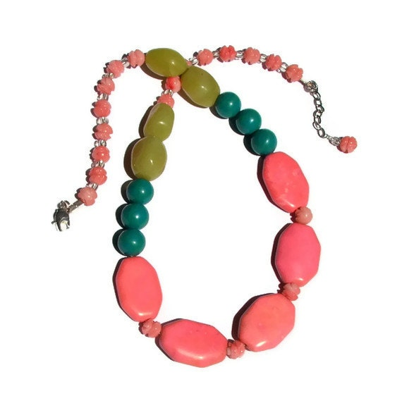 Neon Pink Necklace, Chartreuse Lime, Pink and Turquoise, Hot Pink, Salmon, Summer Fashion Necklace, Statement, Blue Green