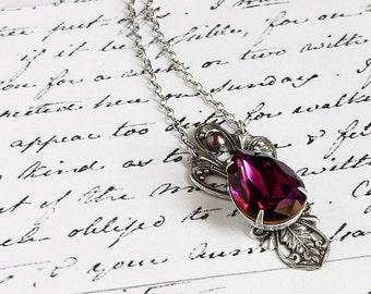 Purple Swarovski Crystal Necklace Oxidized Silver Pendant Romantic Victorian Jewelry Vintage style swarovski drop necklace gift