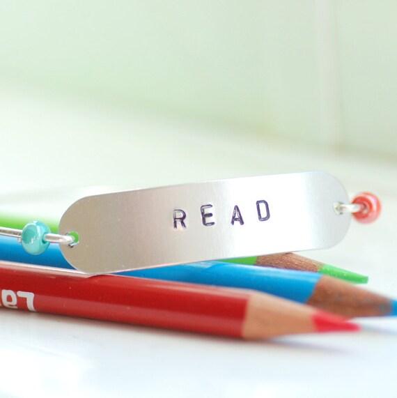 Word Bracelet, Message Bracelet,Teacher Gift, Librarian Jewelry, Stamped Bracelet, Wire Bangle Bracelet, Silver Bangle - READ