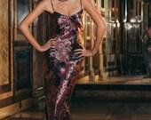 1 custom gown in printed silk