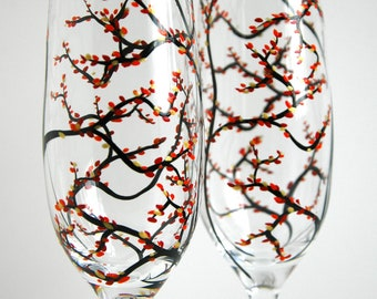 Fall Wedding Toasting Flutes - Set of 2 Personalized Hand Painted Champagne Flutes - Personalized Wedding Flutes, Fall Wedding Glasses