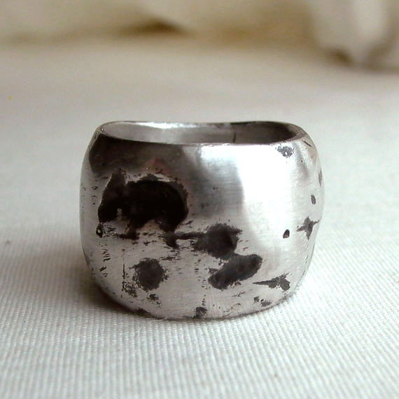 Burnt Silver Ring - Size 6 - Sterling Silver - Organic - Black - Oxidized - Nature Inspired - Textured - Rustic - Statement Rings - Gallery
