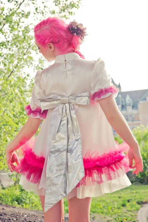 Up-Cycled Fairy Kei Fashion Baby-doll Dress in White & Cotton Candy Pink by Janice Louise Miller