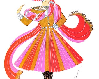 Water Costume, 1937, Musical Comedy Costume, 1937 Erte Theatrical Costumes 2 Sided Book Plate 1979 Full Color Illustration