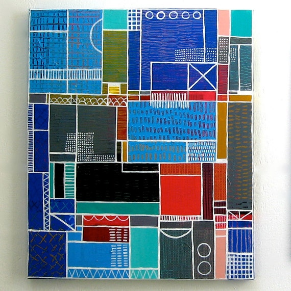 Geometric Abstract Acrylic Painting, Original on Stretched Canvas, Inspired by urban architecture