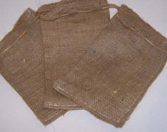 4 Mini Burlap Bags for Sewing Crafts