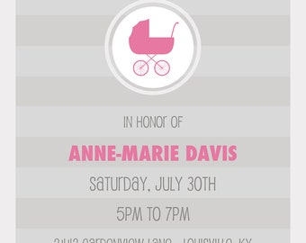 Modern Carriage in Pink Baby Shower Invitation- PRINTABLE