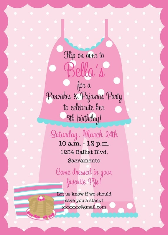 Pancakes and pajamas birthday party invitation printable like this item filmwisefo