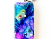 Star Nebula Upcycled Domino Pendant Necklace eco-friendly  Hand dyed Swarovski crystals  Free Shipping