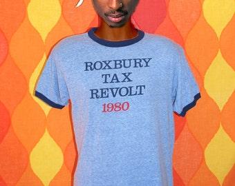 vintage t-shirt 1980 roxbury TAX REVOLT ringer tee shirt Large soft thin heathered