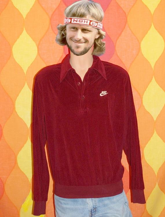 vintage 70s NIKE sweatshirt swoosh orange label velour polo golf shirt collar XL 80s t-shirt
