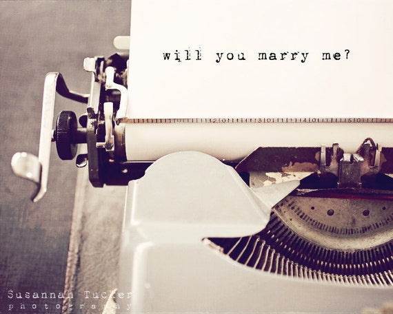 Will you marry me marriage proposal typography art