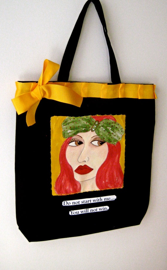 FEMME FATALE TOTE,  Cotton Tote, Fashion Tote, Funny Quote/, Shoe Tote, Hand Painted Tote,  Market Tote