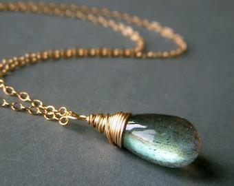 Labradorite Briolette Necklace Goldfill Petite Simple Goldfilled Luminous Wirewrapped Minimalist Gemstone Pendant Fiery Labradorite Necklace