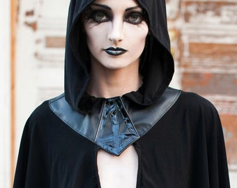 Sexecutioner Hooded Capelet with Inverted Cross
